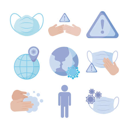 set of icons prevention protection of coronavirus , flat style icon vector illustration design