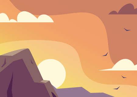 nature landscape with beautiful sunset vector illustration design
