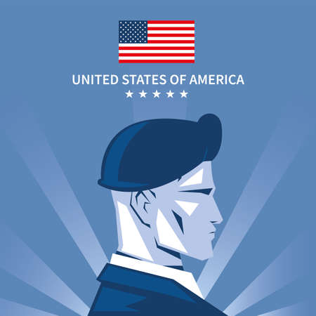 poster with american soldier in uniform, memorial day vector illustration design