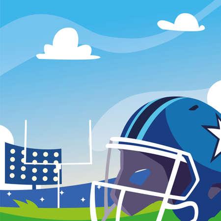 football stadium with helmet, super bowl vector illustration design