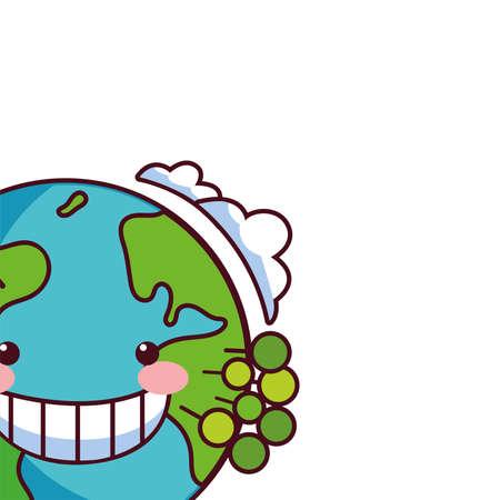 earth globe happy for preservation nature vector illustration design Illusztráció