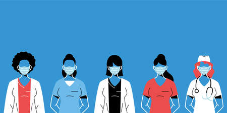 female doctors with masks and uniforms design of medical care and covid 19 virus theme Vector illustration