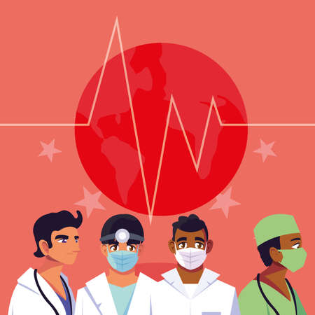 Men doctors with masks in front of pulse and stars design of Medical care health and emergency theme Vector illustration Çizim