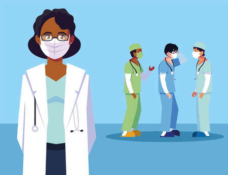 group of doctors , staff and medical team vector illustration design