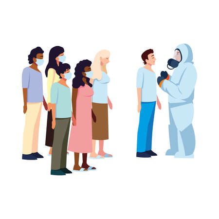 Doctor with protective suit checking people design of Medical care and covid 19 virus theme Vector illustration
