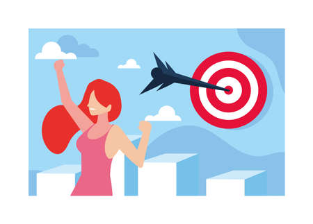 woman celebrating and target shooting in background vector illustration design