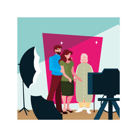 couple of people and grandmother standing vector illustration design
