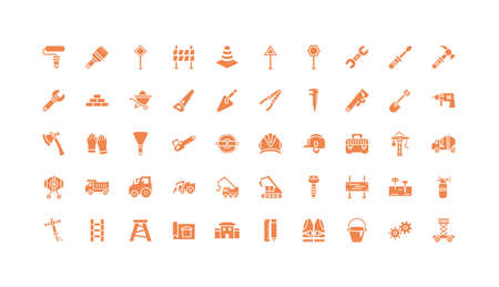 Tools icon set design, Under construction architecture work repair progress warning industry and build theme Vector illustration Illustration