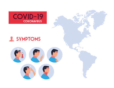 infographic with symptoms of coronavirus vector illustration design
