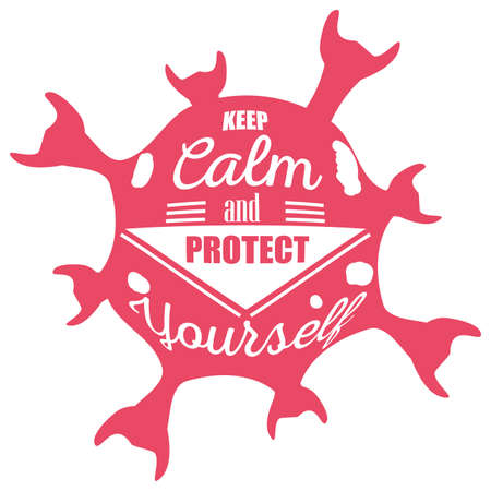keep calm and protect yourself, poster vector illustration design