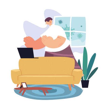 man working at home, quarantine by coronavirus vector illustration design Vettoriali