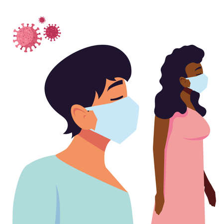 Man and woman with mask design of Medical care and covid 19 virus theme Vector illustration