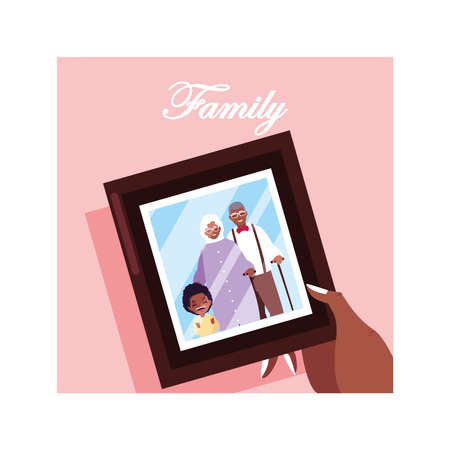 photograph of old couple and a grandchild vector illustration design