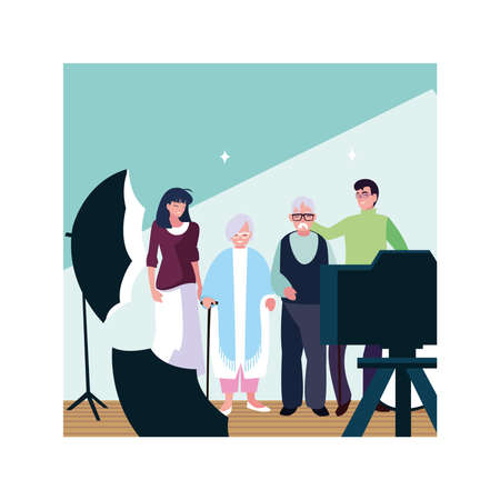 old couple and their adult children having fun together vector illustration design