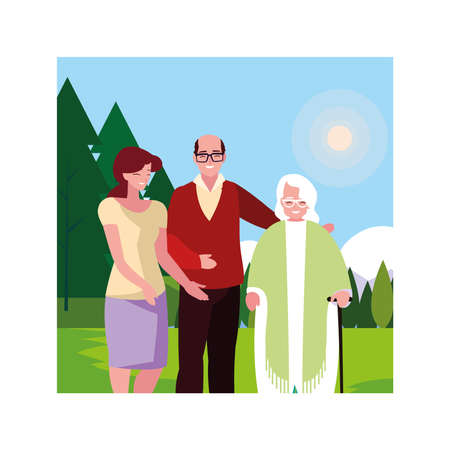 old couple and daughter fun together, two generations vector illustration design