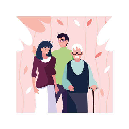 couple of people and grandfather standing vector illustration design Illustration
