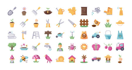 gardening equipment icon set over white background, flat detail style, vector illustration