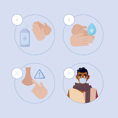 man with mask icon set design of medical care and covid 19 virus theme Vector illustration Çizim
