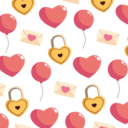pattern with valentines day icons vector illustration design