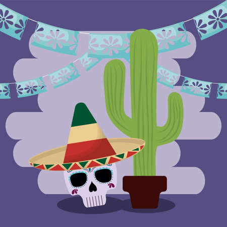 Mexican skull and cactus with banner pennant design, Mexico culture tourism landmark latin and party theme Vector illustration Illusztráció