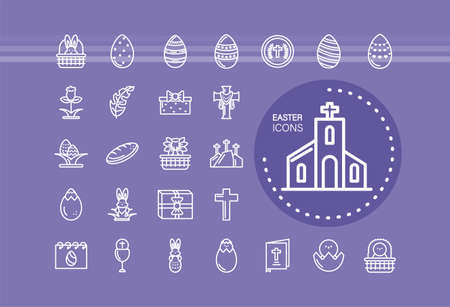 church and happy easter icons set over purple background, line style icon, vector illustration Illustration