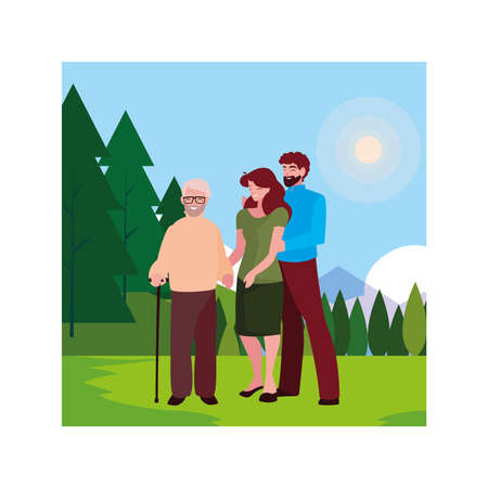 couple of people and grandfather walking in the park vector illustration design