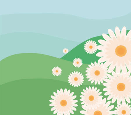 landscape nature with flowers vector illustration design