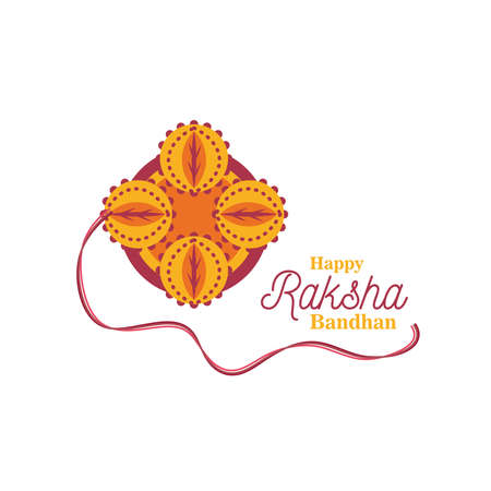 Raksha bandhan yellow flower wristband detailed style icon design, Indian and holiday theme Vector illustration