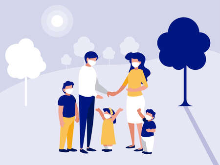 Family with masks at park with trees design of Covid 19 virus theme Vector illustration