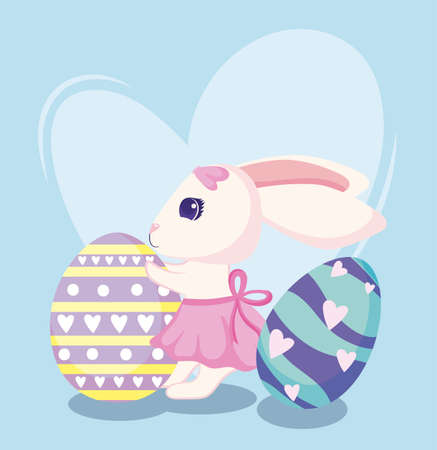 Happy easter rabbit with eggs design, Spring decoration holiday greeting ornament celebration festive season tradition and festival theme Vector illustration