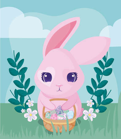 Happy easter rabbit with eggs basket design, Spring decoration holiday greeting ornament celebration festive season tradition and festival theme Vector illustration Archivio Fotografico - 150955611