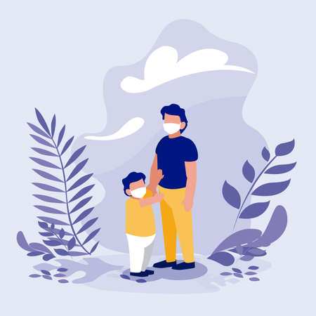 Father and son with masks outside design of Covid 19 virus theme Vector illustration