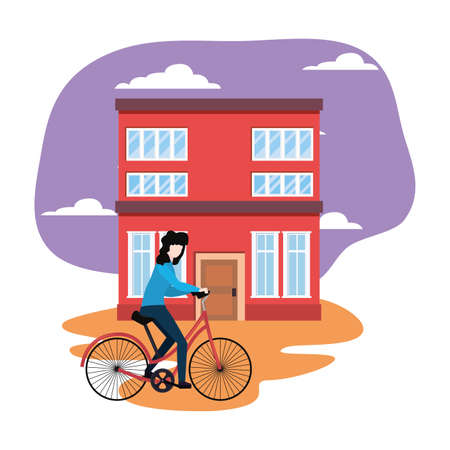 young woman riding bicycle urban scene vector illustration