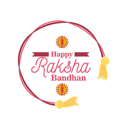 Raksha bandhan yellow and pink wristband detailed style icon design, Indian and holiday theme Vector illustration Illusztráció