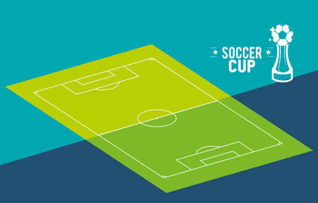 court with ball trophy design, Soccer 2020 football sport hobby competition and game theme Vector illustration 일러스트