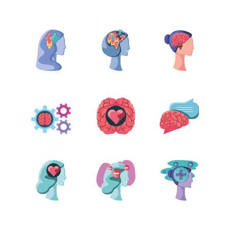 set of icons mental health on white background vector illustration design Vector Illustratie
