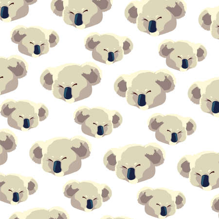 pattern of head of koala on white background vector illustration design
