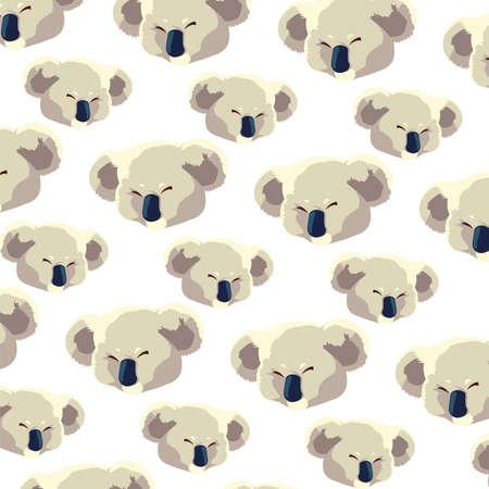 pattern of head of koala on white background vector illustration design