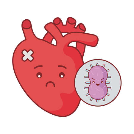 heart and virus cartoon flat style icon design of Medical care health and emergency theme Vector illustration