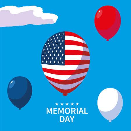 helium balloons , label memorial day vector illustration design Ilustrace