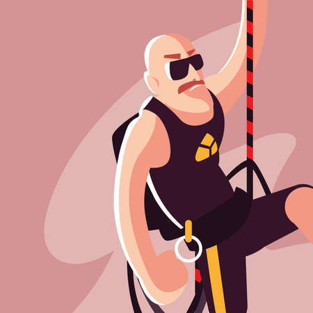 man rock climber with climbing equipment vector illustration design