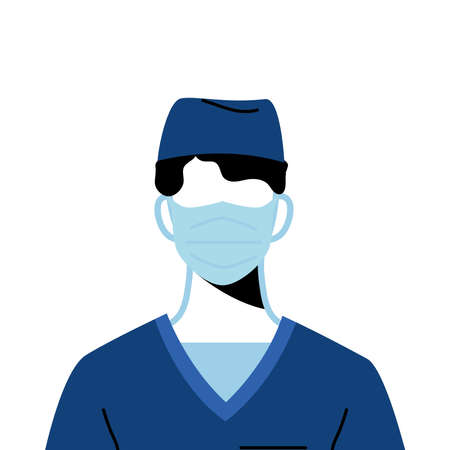 male doctor wearing surgical mask vector illustration design