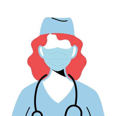 female doctor wearing surgical mask vector illustration design