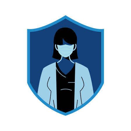 professional medical woman wearing face masks for safety vector illustration design