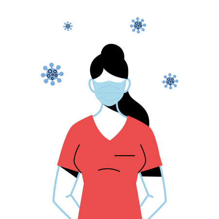 professional medical woman wearing face mask to avoid coronavirus vector illustration design Illustration