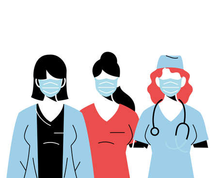 professional medical women wearing face masks vector illustration design