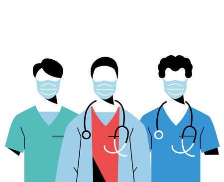 Young professional doctors wearing face masks vector illustration design Illustration