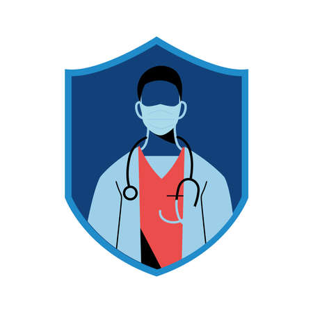 medical professional wearing face masks for safety vector illustration design