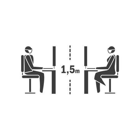 social distancing icon, keep the of 1,5 m or 1,5 Metres , coronovirus epidemic protective 矢量图片