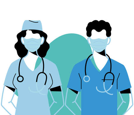 professional doctors wearing face masks vector illustration design